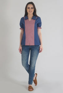 Lapis Blue Frilled Half Sleeve Collared Top style