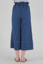 Load image into Gallery viewer, Lapis Blue Piping Detailed Wide Legged Castellations Culotte Pants back