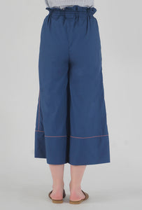 Lapis Blue Piping Detailed Wide Legged Castellations Culotte Pants back