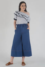 Load image into Gallery viewer, Lapis Blue Piping Detailed Wide Legged Castellations Culotte Pants style