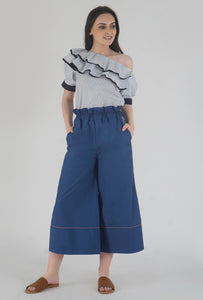 Lapis Blue Piping Detailed Wide Legged Castellations Culotte Pants style