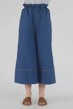 Load image into Gallery viewer, Lapis Blue Piping Detailed Wide Legged Castellations Culotte Pants detail