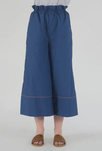 Lapis Blue Piping Detailed Wide Legged Castellations Culotte Pants detail