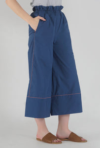 Lapis Blue Piping Detailed Wide Legged Castellations Culotte Pants side