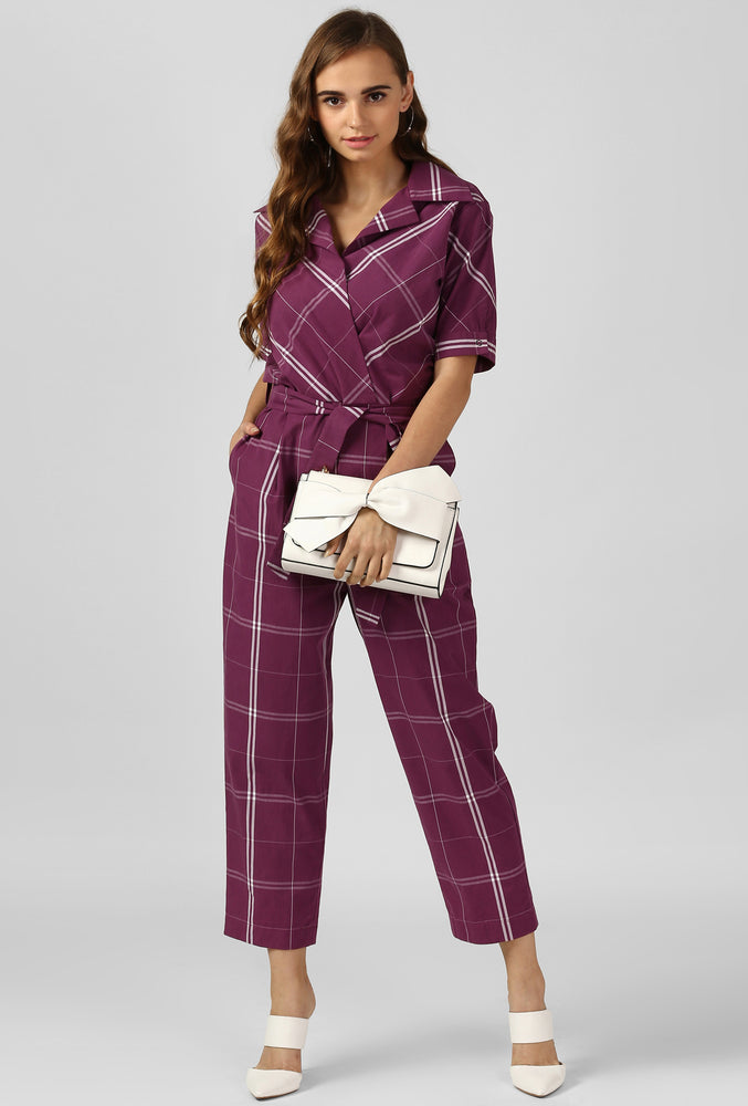 Magenta-White Square Jumpsuit