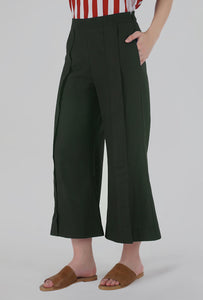 Moss Green Pleated Front Slit Culotte Pants detail