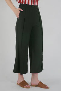 Moss Green Pleated Front Slit Culotte Pants side