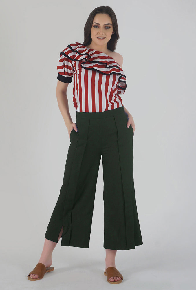 Moss Green Pleated Front Slit Culotte Pants style