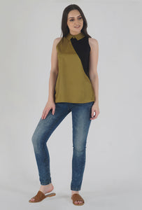 Mustard Color Block Collared Sleeveless Top crop