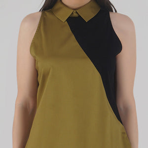 Mustard Color Block Collared Sleeveless Top detail