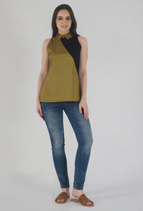 Mustard Color Block Collared Sleeveless Top style