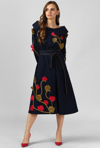 Navy Applique Detailed Portrait Dress