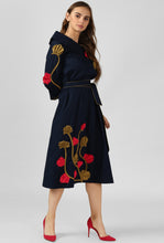 Load image into Gallery viewer, Navy Applique Detailed Portrait Dress