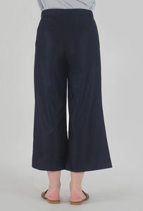 Navy Pleated Front Slit Culotte Pants back