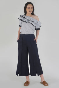 Navy Pleated Front Slit Culotte Pants crop