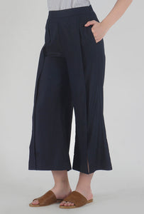 Navy Pleated Front Slit Culotte Pants side