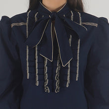 Load image into Gallery viewer, Navy Poplin Front Ruffle Pussy-Bow Top detail