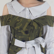 Load image into Gallery viewer, Navy Stripe Camouflage Cold Shoulder Shirt Top detail