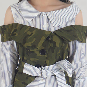 Navy Stripe Camouflage Cold Shoulder Shirt Top detail
