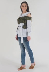 Navy Stripe Camouflage Cold Shoulder Shirt Top side