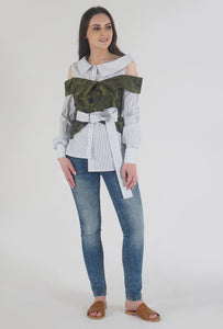 Navy Stripe Camouflage Cold Shoulder Shirt Top style