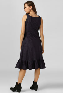 Nightshade Blue Check Scoop Neck Evening Dress