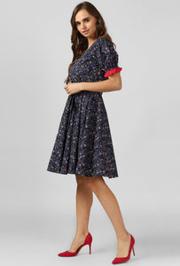 Paisley Floral Print Scoop Neck Dress