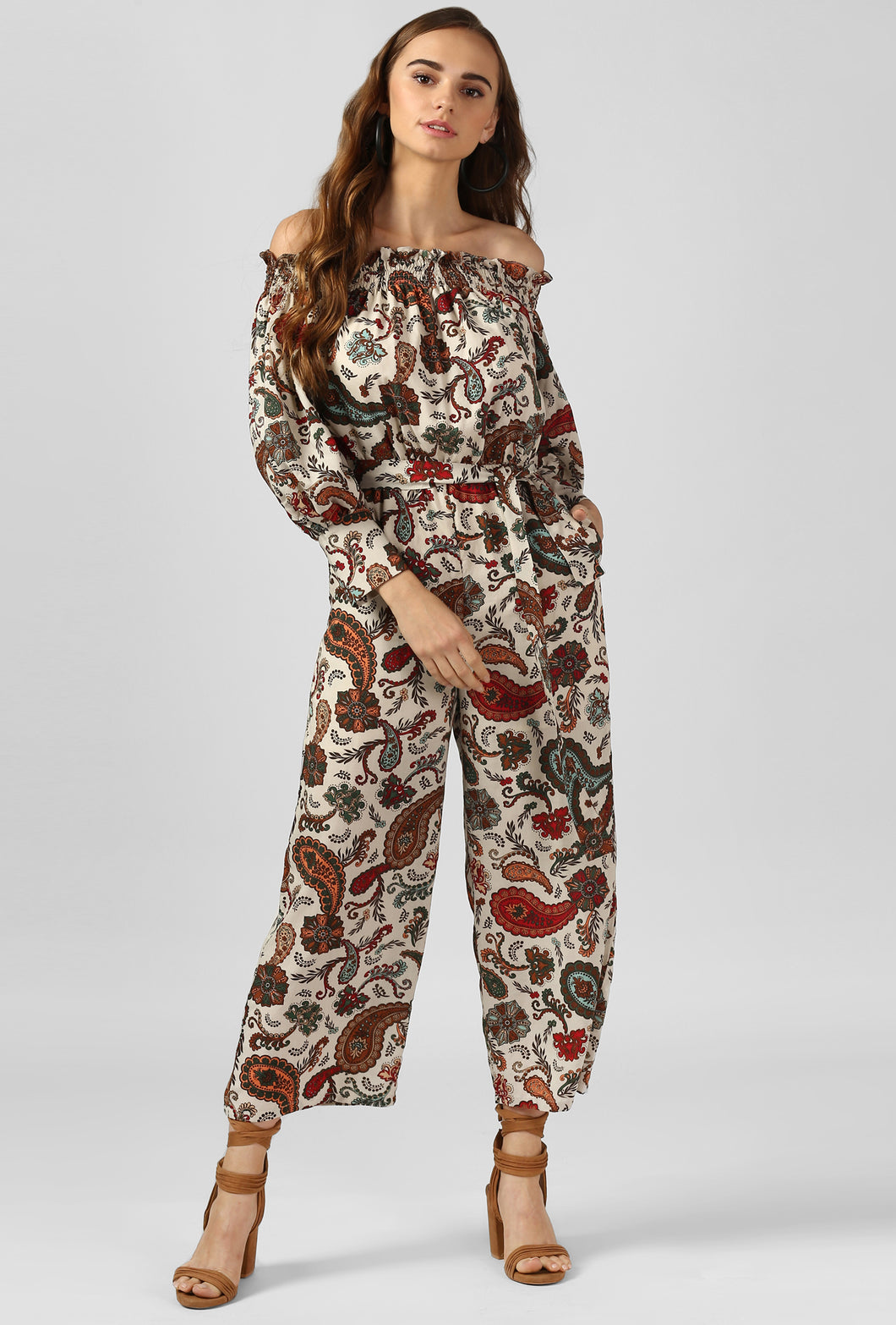 Paisley Print Off Shoulder Jumpsuit