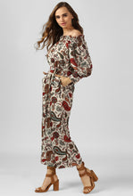 Load image into Gallery viewer, Paisley Print Off Shoulder Jumpsuit