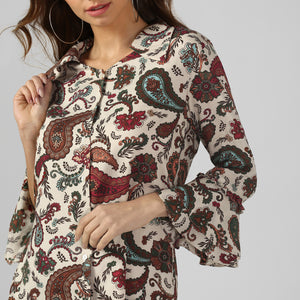 Paisley Print V-Neck Top