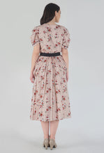 Load image into Gallery viewer, Peach Dobby Floral Print Cowl Dress back
