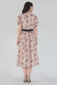 Peach Dobby Floral Print Cowl Dress back