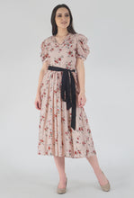 Load image into Gallery viewer, Peach Dobby Floral Print Cowl Dress crop