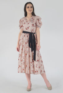 Peach Dobby Floral Print Cowl Dress crop