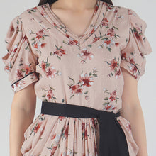 Load image into Gallery viewer, Peach Dobby Floral Print Cowl Dress detail