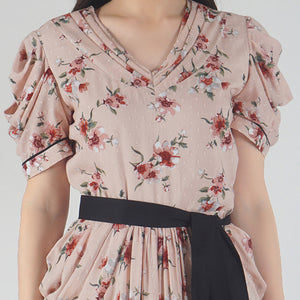 Peach Dobby Floral Print Cowl Dress detail