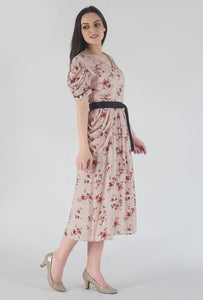 Peach Dobby Floral Print Cowl Dress side
