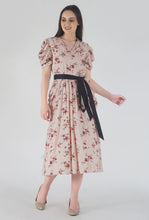 Load image into Gallery viewer, Peach Dobby Floral Print Cowl Dress style