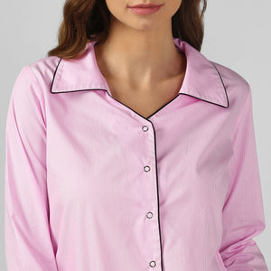 Pink Pinstripe Snuggle Up Night Suit