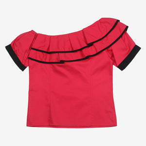 Pink Ruffle One Shoulder Mini Me Top