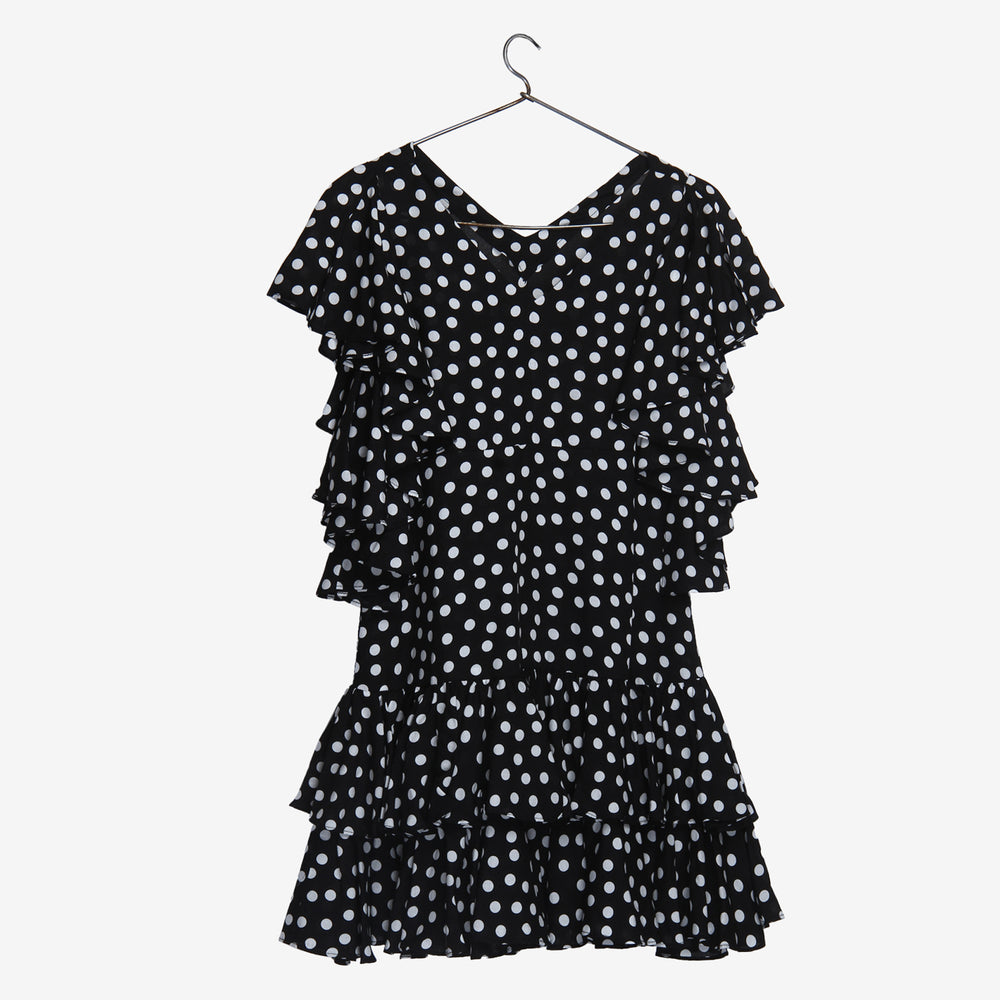 Polka Frill Sleeve Little Angel Black Dress
