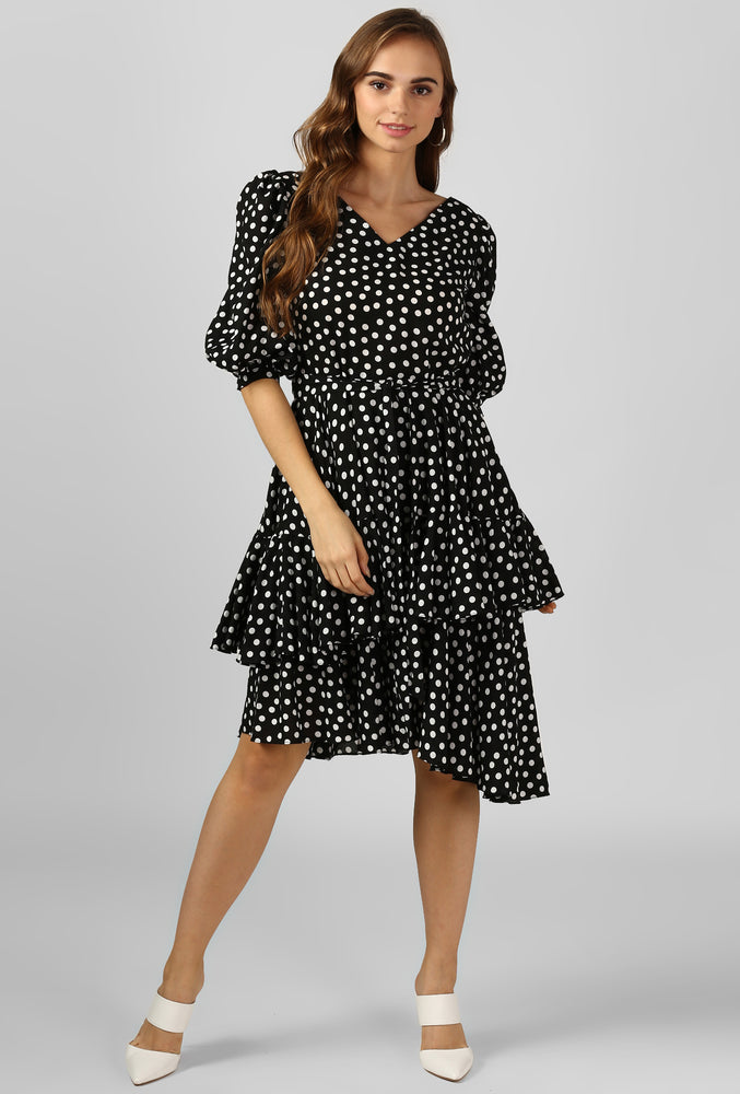 Polka Print Black Evening Dress