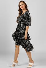 Load image into Gallery viewer, Polka Print Black Evening Dress