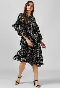 Polka Print Frilled Sleeve Cowl Neck Evening Dress