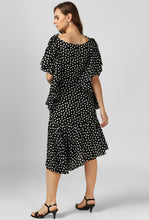 Load image into Gallery viewer, Polka Print Frilled Sleeve Cowl Neck Evening Dress