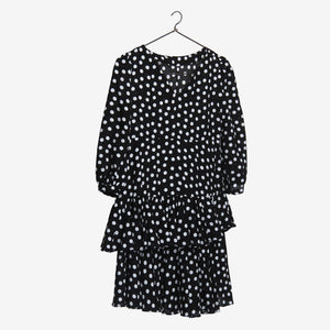 Polka Puff Sleeve Little Angel Black Dress