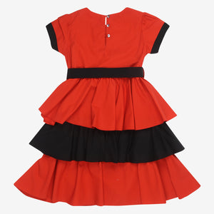 Red Black Layered Frock Dress
