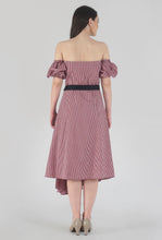 Load image into Gallery viewer, Red Gingham Pleated Off Shoulder Asymmetrical Ionic Dress back