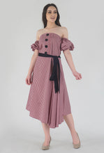 Load image into Gallery viewer, Red Gingham Pleated Off Shoulder Asymmetrical Ionic Dress crop