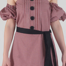 Load image into Gallery viewer, Red Gingham Pleated Off Shoulder Asymmetrical Ionic Dress detail
